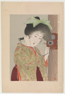 Talking, from the series Customs of Women Today (Yamamoto Shoun, 1906-1909)